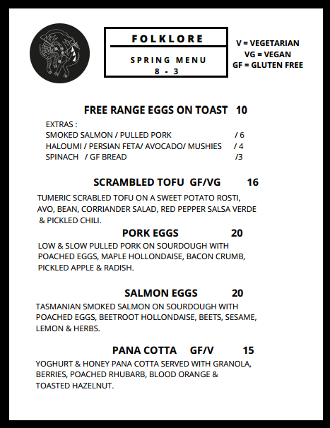 Spring menu (provided by Folklore Cafe)